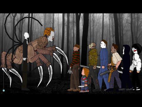 SLENDER MAN Vs IT Pennywise Vs Jason Voorhees, Freddy, Michael, Leatherface, Chucky, Ghostface, Jeff