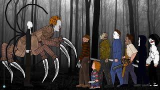 SLENDER MAN Vs IT Pennywise Vs Jason Voorhees Freddy Michael Leatherface Chucky Ghostface Jeff
