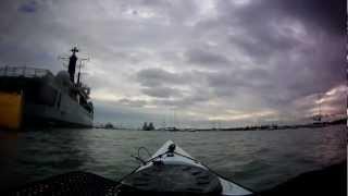 Kayak round HMS Manchester