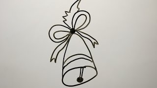DIY Learn How to Draw a Christmas Bell. Easy Drawings for Kids.