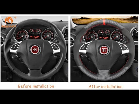 MEWANT--for Fiat Bravo 2007-2015 Hand Stitch Car Steering Wheel Cover Installations