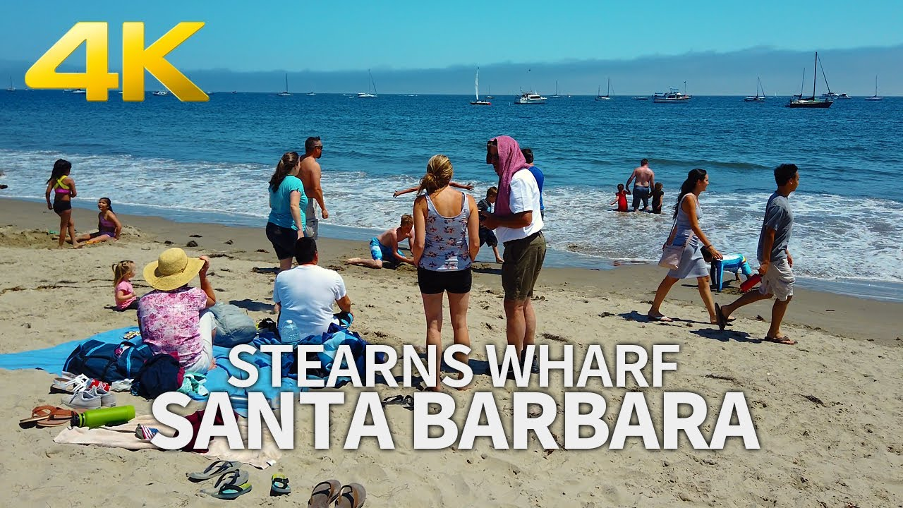 SANTA BARBARA - Walking Santa Barbara, Stearns Wharf, California, USA, Travel, 4K UHD