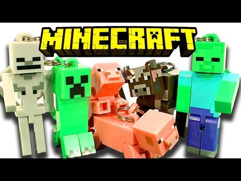 Minecraft Hangers 10 Blind Bags Creeper Zombie Skeleton & Breeding Pigs Toy Review