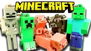 minecraft hangers 10 blind bags creeper zombie skeleton breeding pigs toy review