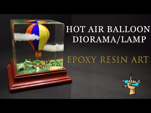 HOT AIR BALLOON DIORAMA/LAMP - Epoxy Resin Art