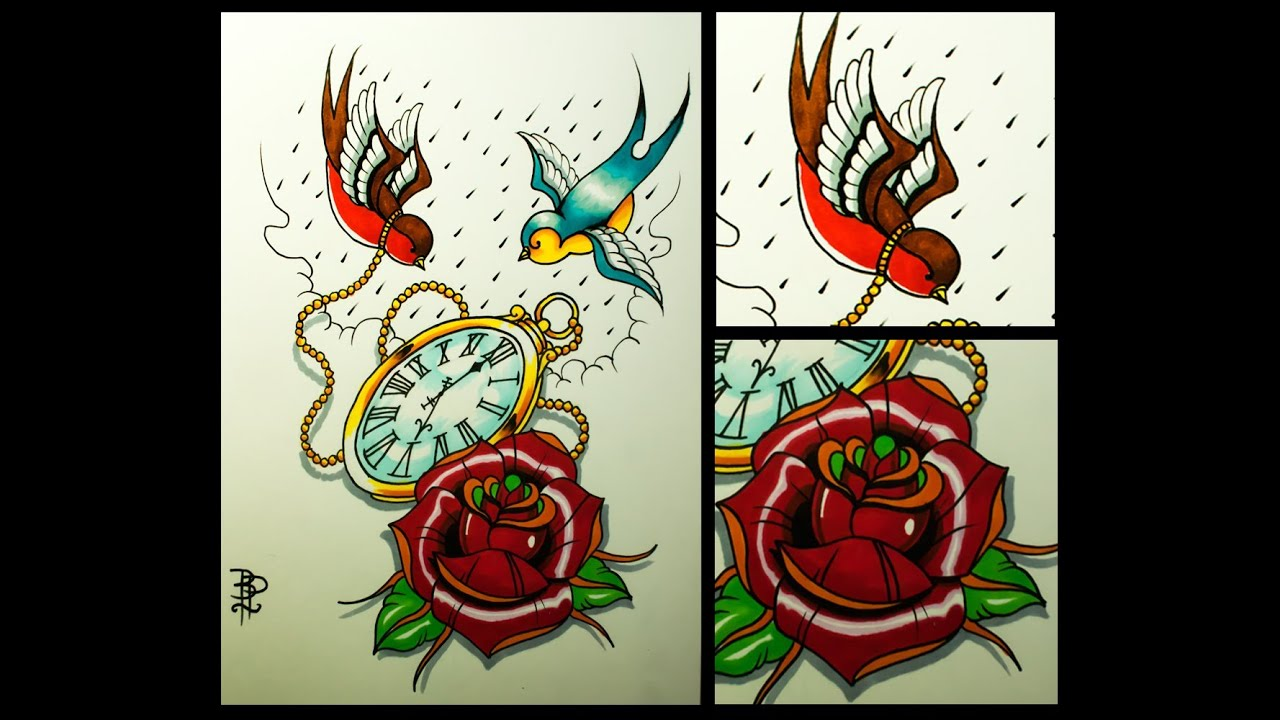 bb4f83f9f How to draw an old school Rose, Swallows and Pocket Watch tattoo style by  thebrokenpuppet