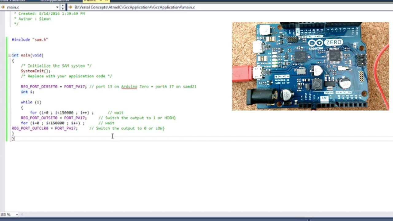 Arduino Zero and Atmel Studio 7 | Programming in C LED Blink Example