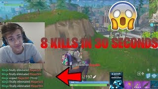 NINJA GETS 8 KILLS IN 30 SECONDS!! (Fortnite Funny Moments & Amazing Plays)