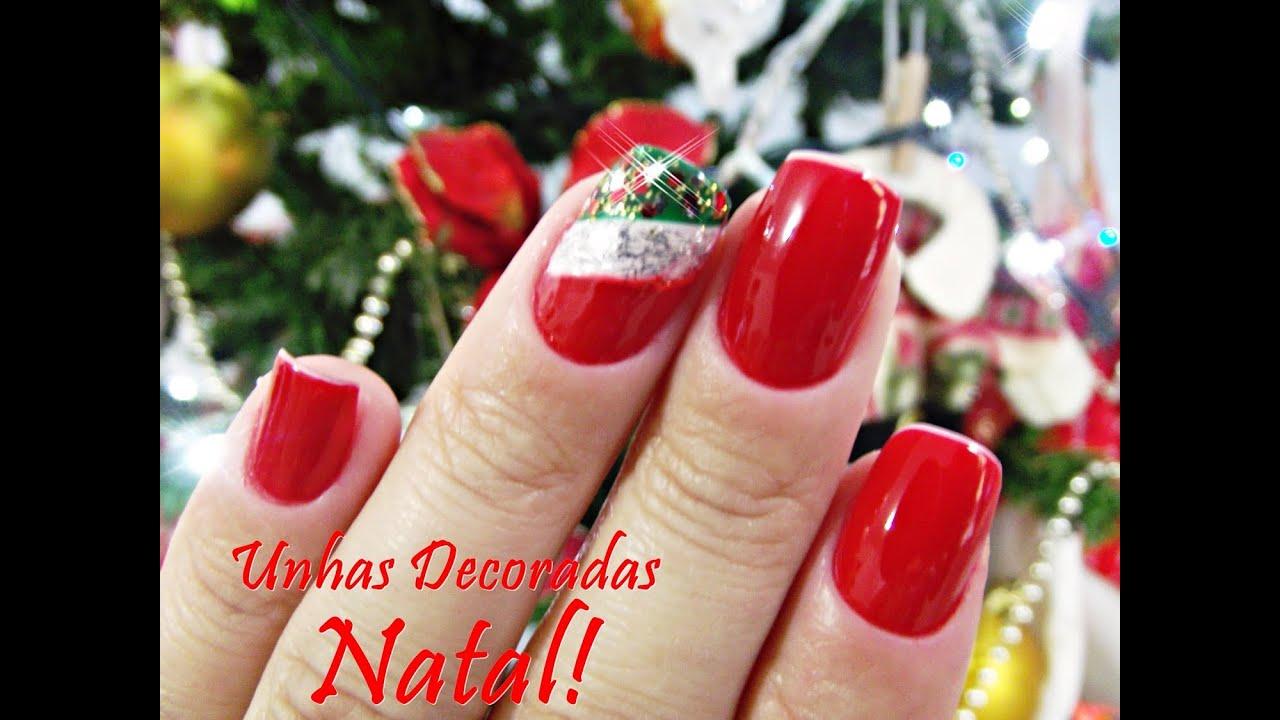 Unhas Vermelhas decoradas para o Natal YouTube -> Decoracao Unhas Vermelhas