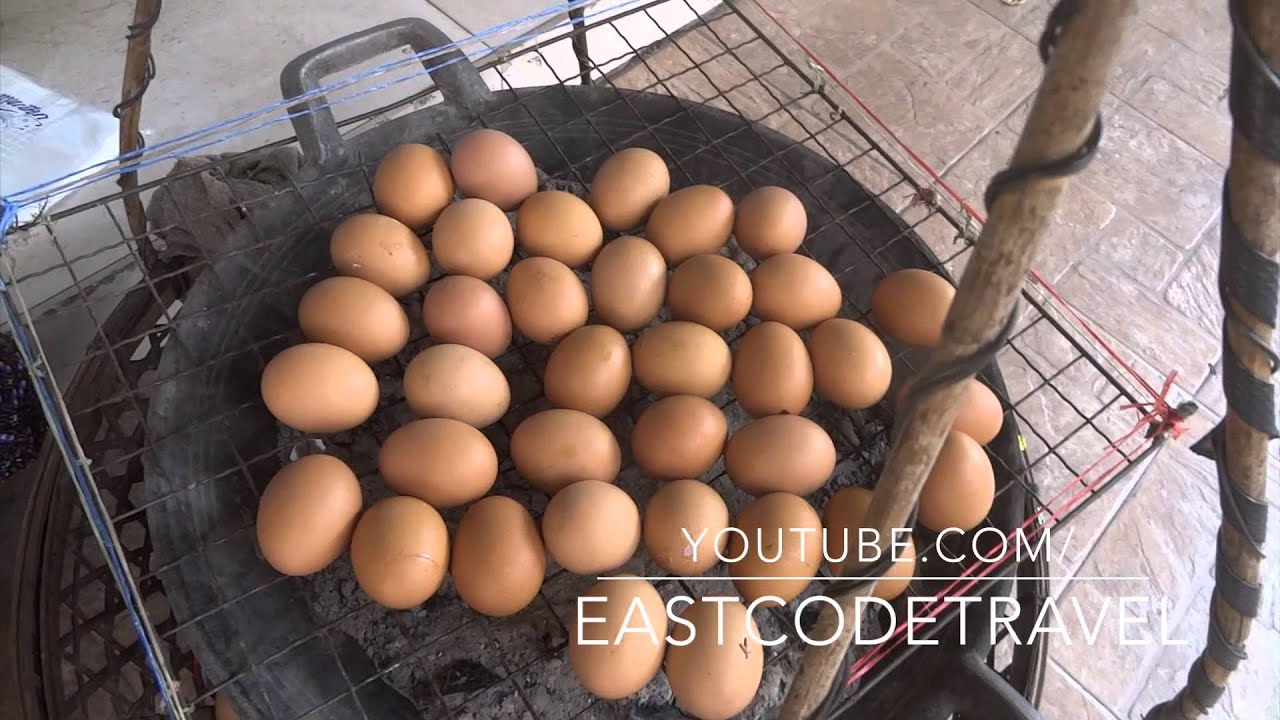 Chacoal grilled eggs Thai street food - YouTube
