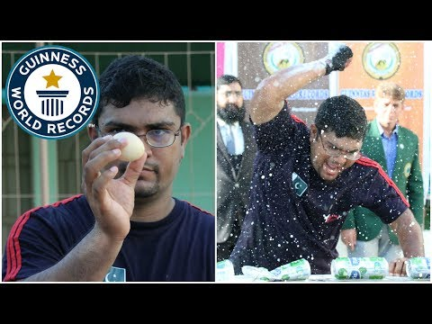 Egg hold can crush challenge - Guinness World Records