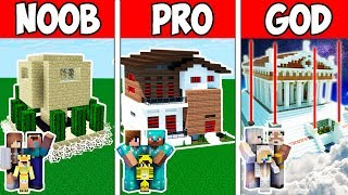 Minecraft Noob Vs Pro Vs God  Future Safest Family House Build Challenge In Minecraft  Animation