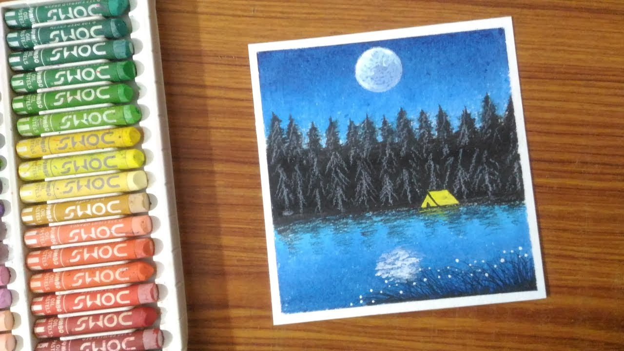 Camping Night Scenery Drawing for Beginners with oil ...