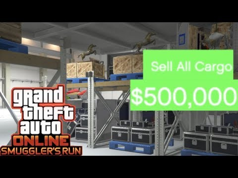 GTA 5 SMUGGLER'S RUN DLC HOW TO MAKE MONEY SELLING FULL STOCK CARGO