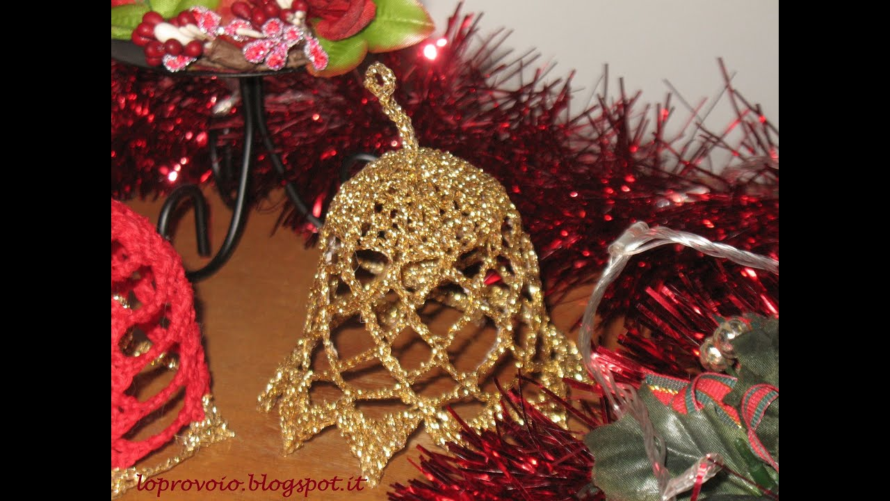 Campanella natalizia all 39 uncinetto campana navide a de for Lavori all uncinetto per altari