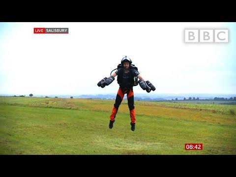 Jet pack flight! @BBC News LIVE on iPlayer 🔴 - BBC