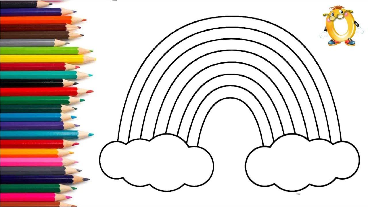 Раскраска для детей РАДУГА. Как рисовать радугу. Учим ...