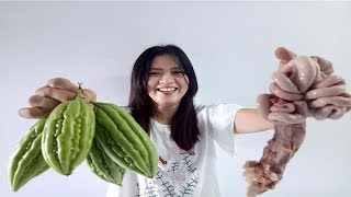 Cooking Skill E12 - Yummy Cooking PIG INTESTINES Bitter Melon - Yummy Recipes In My Village