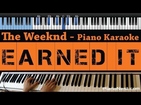 The Weeknd - Earned It - LOWER Key (Fifty Shades Of Grey) Piano Karaoke / Sing Along