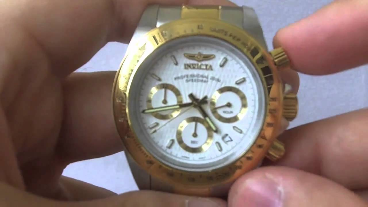 Look Up Number >> Invicta Watches - Men's 9212 Speedway Collection Chronograph S 23k Gold Watch - YouTube