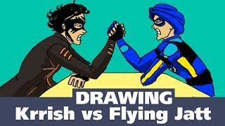 How To Draw A Flying Jatt | How To Draw A Krrish | Krrish vs Flying Jatt