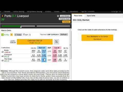 Champions League Football Trading on the Betting Exchanges - Match Odds Market - Porto v Liverpool