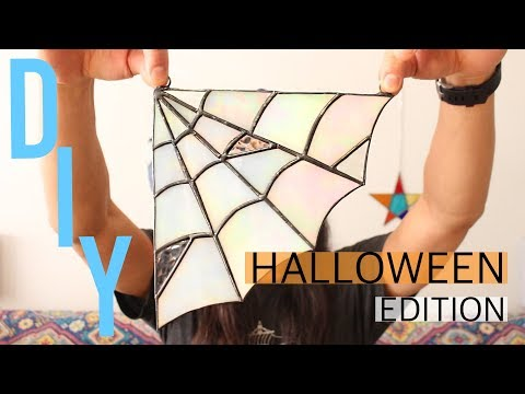 Halloween DIY STAINED GLASS Spider Web