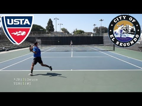 Tennis with JR (Round 3) - USTA NTRP 4.5 vs Former NCAA D1 Highlights HD