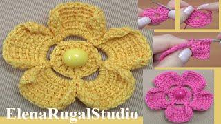 Тунисское вязание. Простой цветочек Урок 200