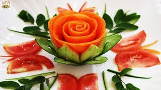 Impressive Garnish Of Wax Gourd & Carrot Rose Loving By Tomato Butterflies Carving Designs