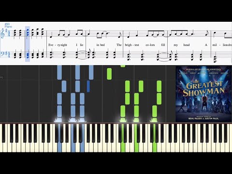 A Million Dreams (from The Greatest Showman) (Synthesia Piano Tutorial w/Lyrics)