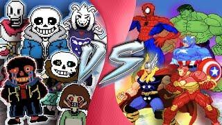 UNDERTALE vs AVENGERS TOTAL WAR! (Chara, Asriel Sans, Error!Sans vs Marvel) CARTOON FIGHT ANIMATION