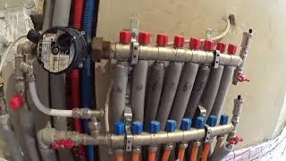 Опрессовка газового котла Будерус и коллектора теплого пола.