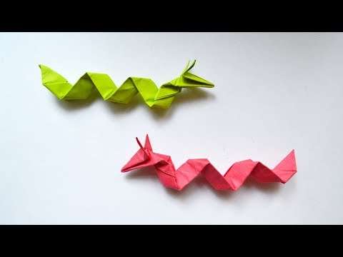 How to make a CHINESE DRAGON Origami out of paper Snake Tutorial DIY