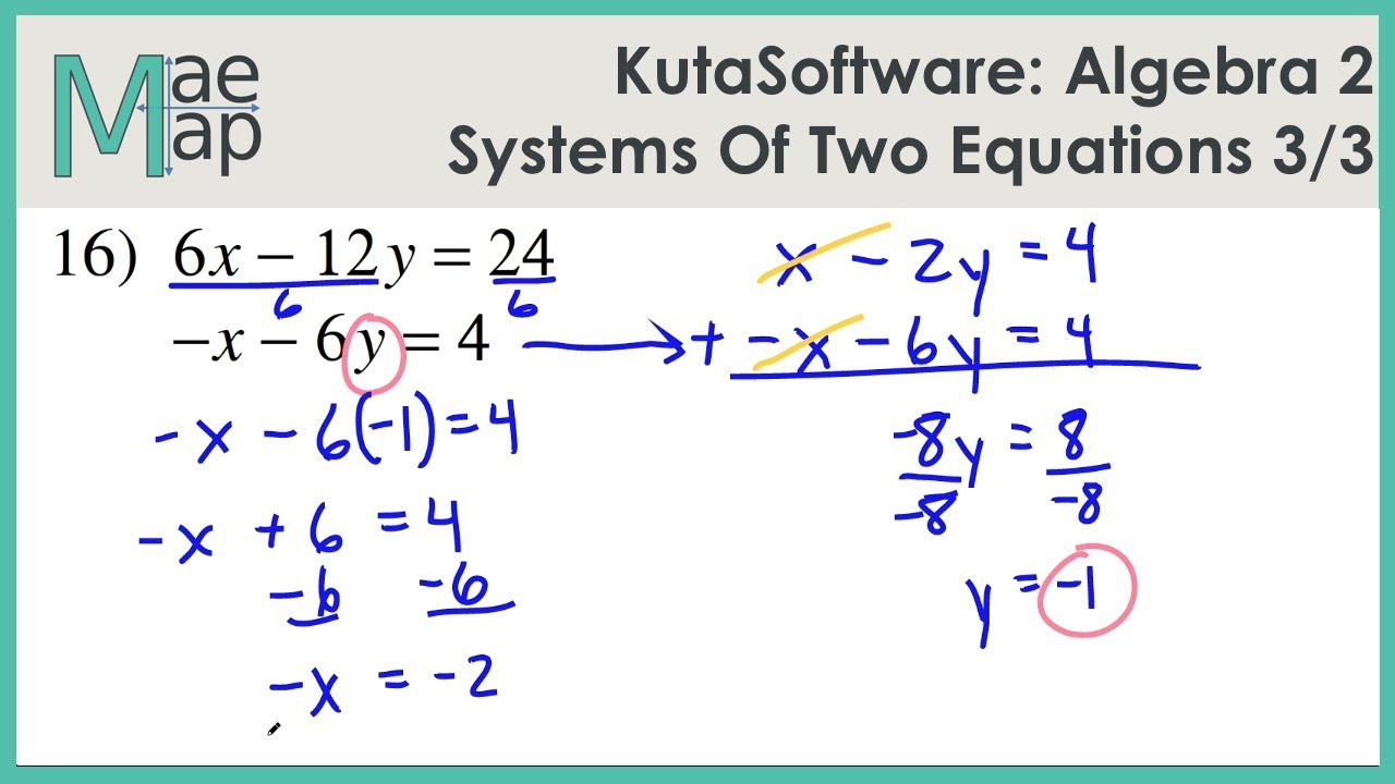Kutasoftware Algebra 2 Systems Of Two Equations Part 3 Youtube
