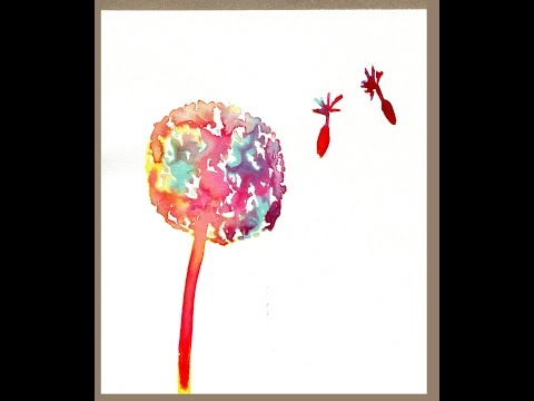 Easy DIY how to paint a watercolor / ink dandelion