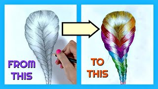 Ombre Hair Braid - How to draw hair / Pencil Sketch Drawing Easy #31