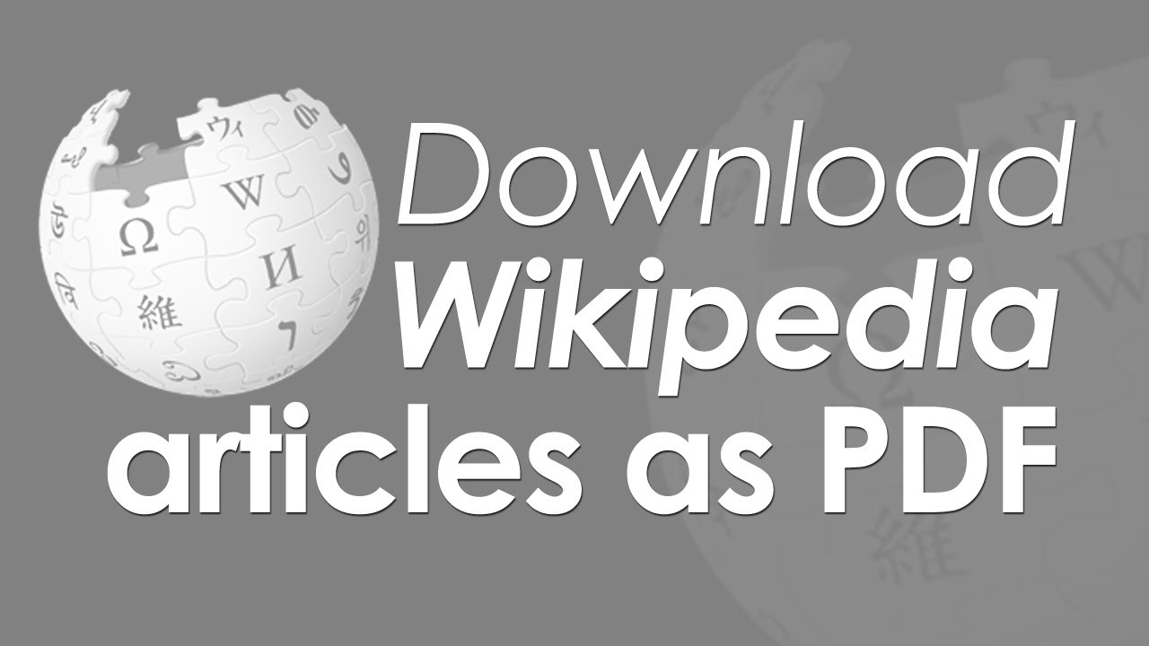 Download & save Wikipedia articles as PDF file