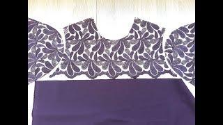 Обработка кружевной кокетки на платье