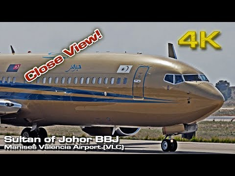 Sultan of Johor [4K] VIP Private Boeing 737 BBJ (9M-III) Close View