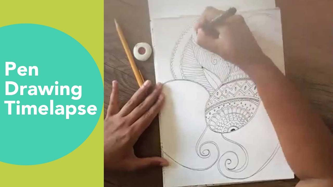 Pen Drawing Time Lapse Henna Art On Paper Faber Castell Pen