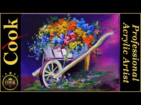 Painting Flowers in a Cart  in Acrylics for Beginners with Ginger Cook