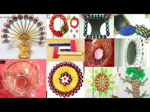 10 Amazing Wall Decor Idea with Mirror and Plastic Spoons || diy craft | Decoration Ideas