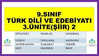 13) 9.Sınıf Türk Dili ve Edebiyatı Şiir-2 ŞİİRLE İLGİLİ ÖNEMLİ KAVRAMLAR