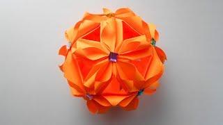 Kusudama Новогодний шар из бумаги Кусудама. Оригами поделки на Новый год 2018