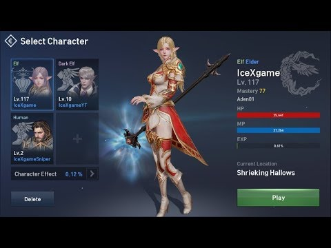 Lineage 2 Revolution Way to lvl 120 & 300k CP  ( NA-1 Aden01