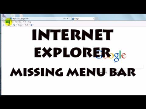 Internet Explorer - Fix Missing Menu Bar