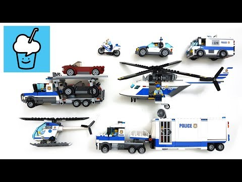 Police vehicles for kids with lego car helicopter mobile command center money transporter motorbike