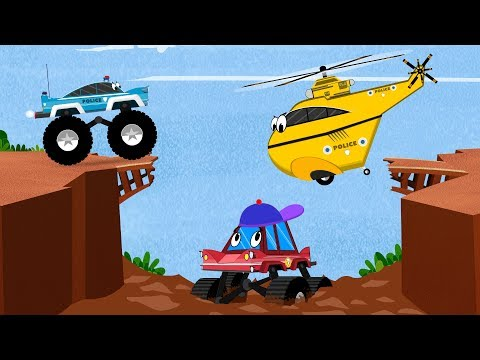 Little Red Truck Stuck in Mud Rescued by Police Car & Helicopter | Kids Cartoon Songs & Rhymes