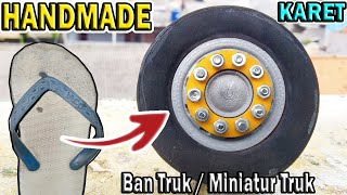Cara membuat ban Karet miniatur truk vleg roda miniatur rc truk handmade  velg ban truk